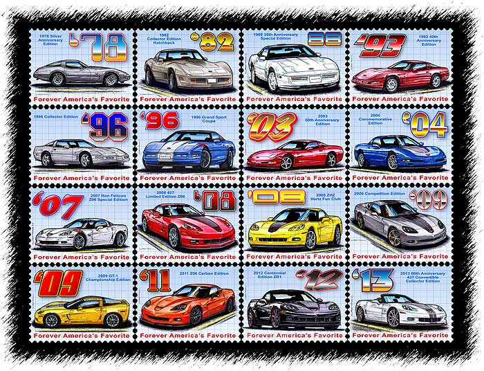Corvette Special Editions Tribute by K. Scott TeetersPS-1-Sheet-Of-Stamps-BIGGER
